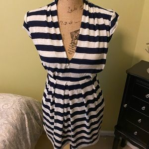Just Ginger navy blue and white stripped dress